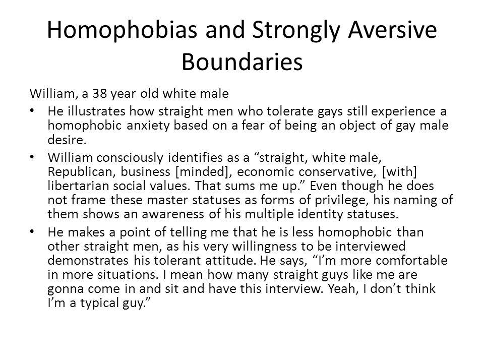 Homophobias and Strongly Aversive Boundaries