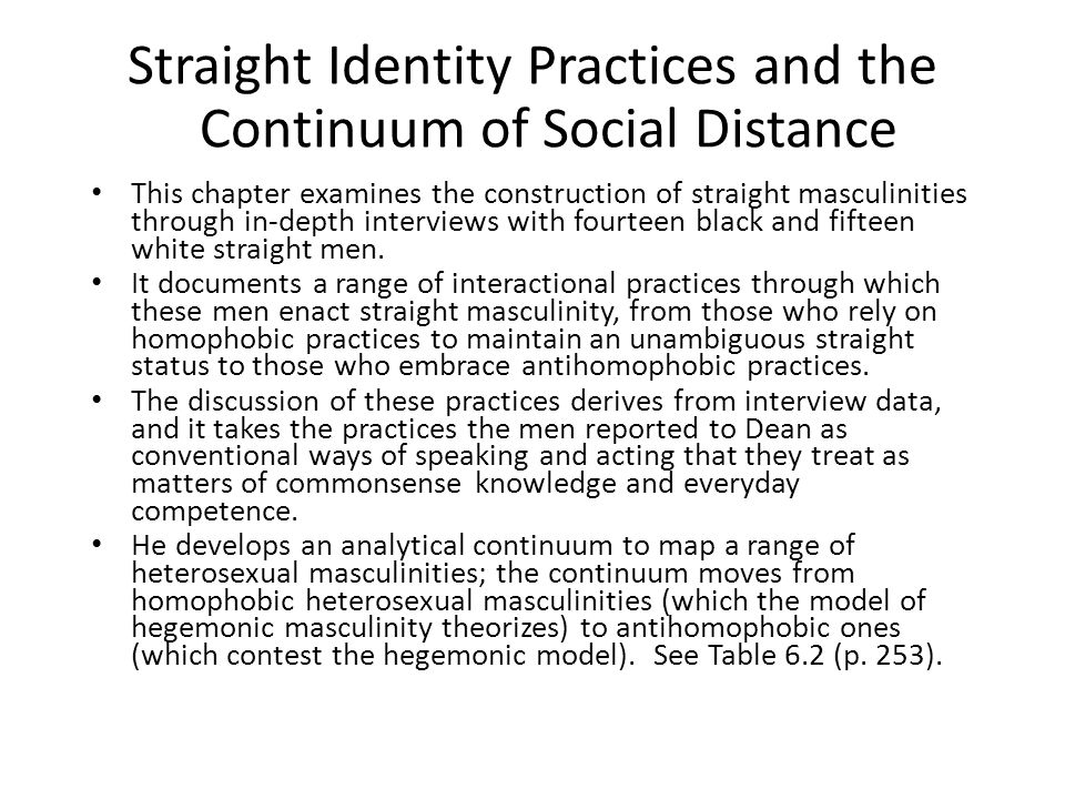 Straight Identity Practices and the Continuum of Social Distance