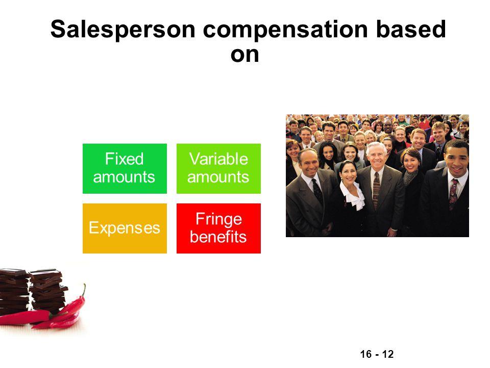 Salesperson compensation based on