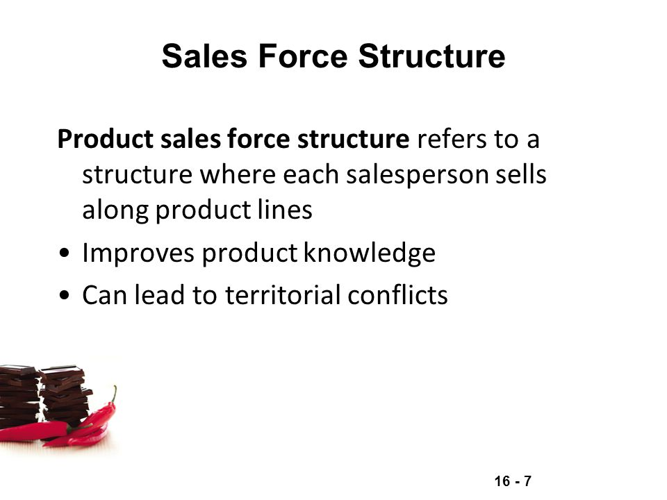 Sales Force Structure Product sales force structure refers to a structure where each salesperson sells along product lines.