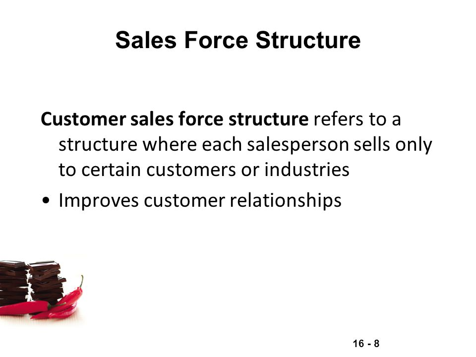 Sales Force Structure Customer sales force structure refers to a structure where each salesperson sells only to certain customers or industries.