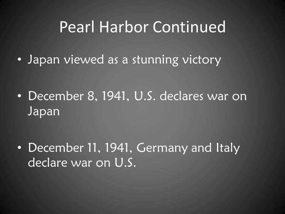 Pearl Harbor Continued