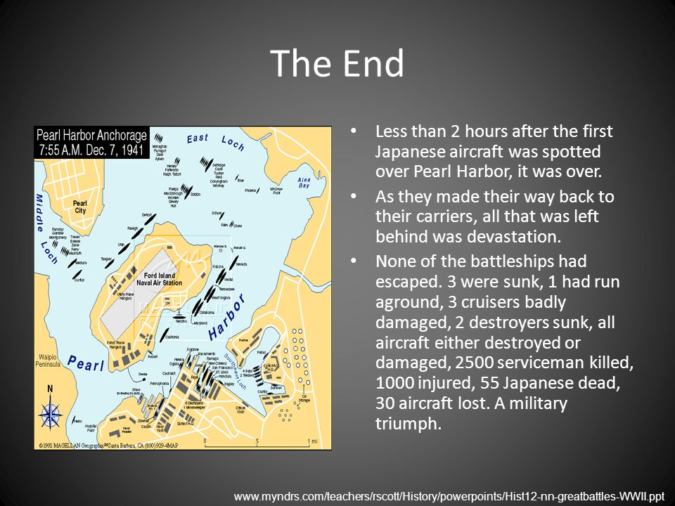 The End Less than 2 hours after the first Japanese aircraft was spotted over Pearl Harbor, it was over.