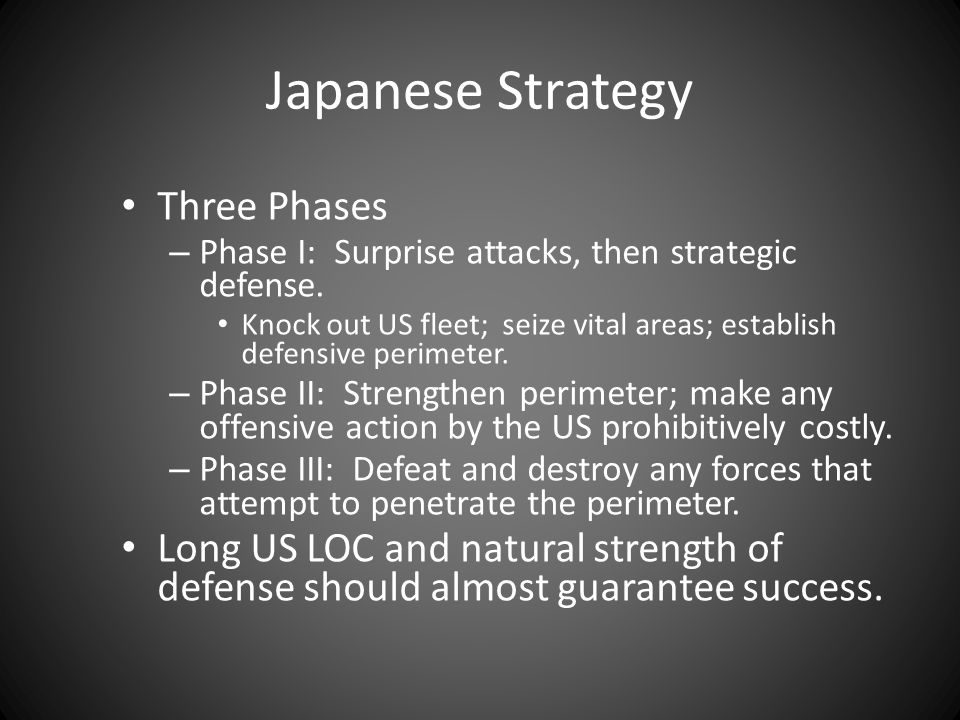 Japanese Strategy Three Phases