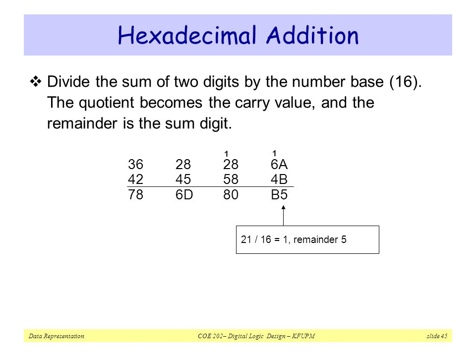 Hexadecimal Addition Divide the sum of two digits by the number base (16). The quotient becomes the carry value, and the remainder is the sum digit.