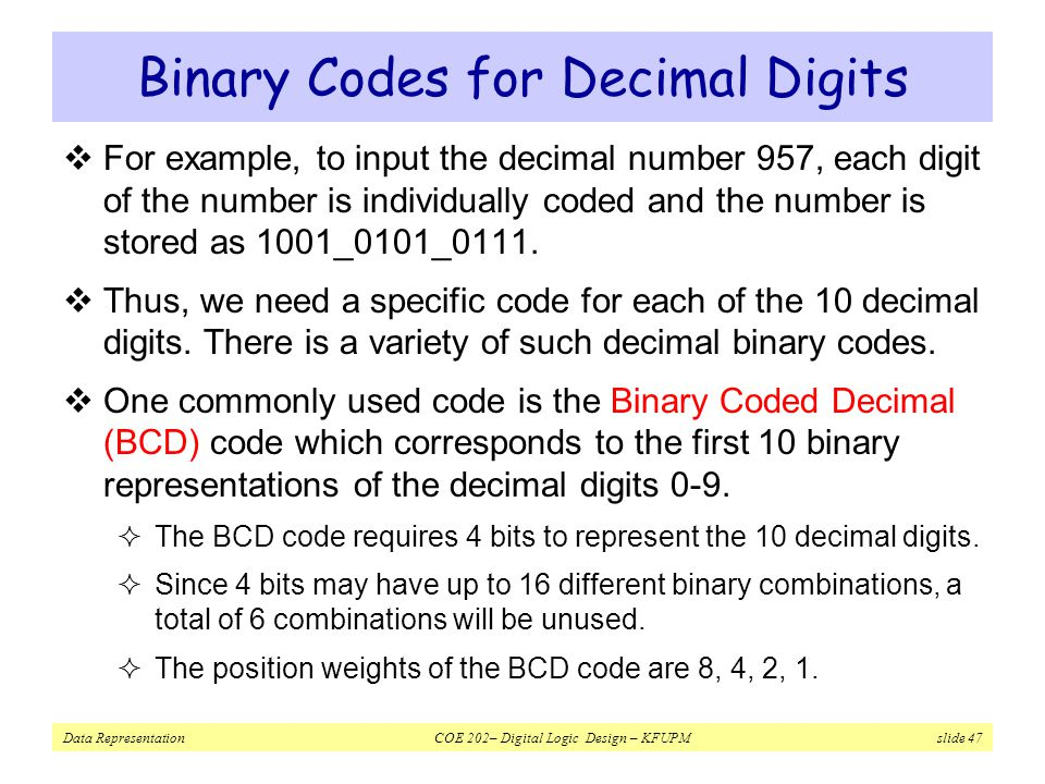 Binary Codes for Decimal Digits