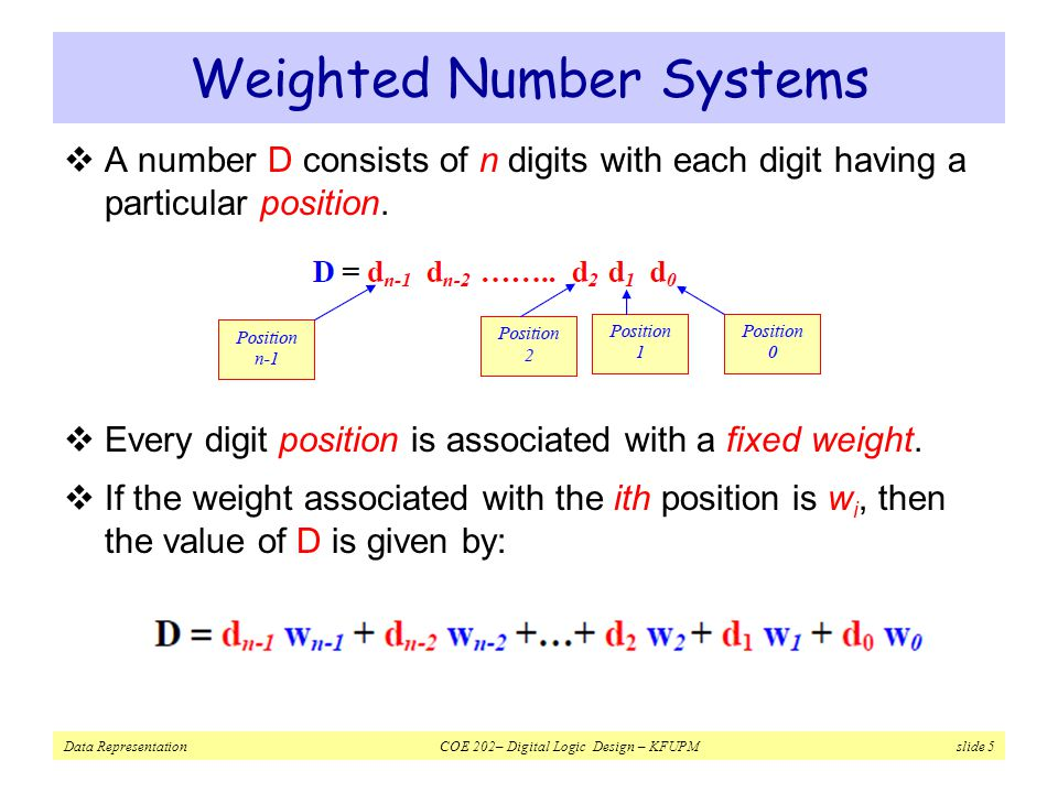 Weighted Number Systems