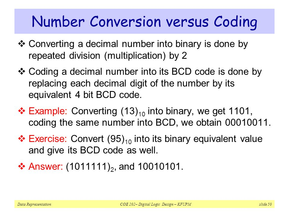 Number Conversion versus Coding