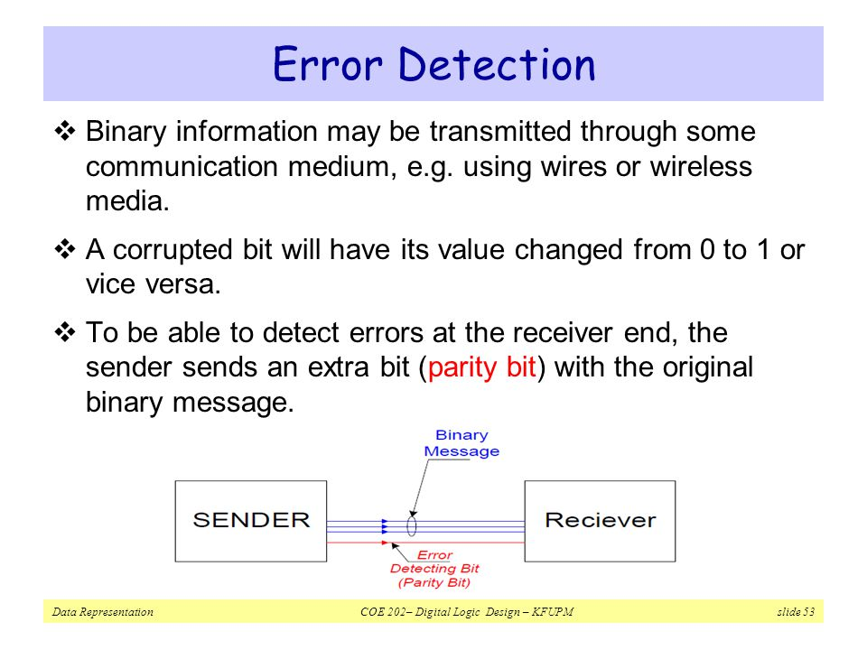 Error Detection Binary information may be transmitted through some communication medium, e.g. using wires or wireless media.