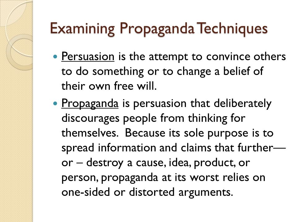 Examining Propaganda Techniques