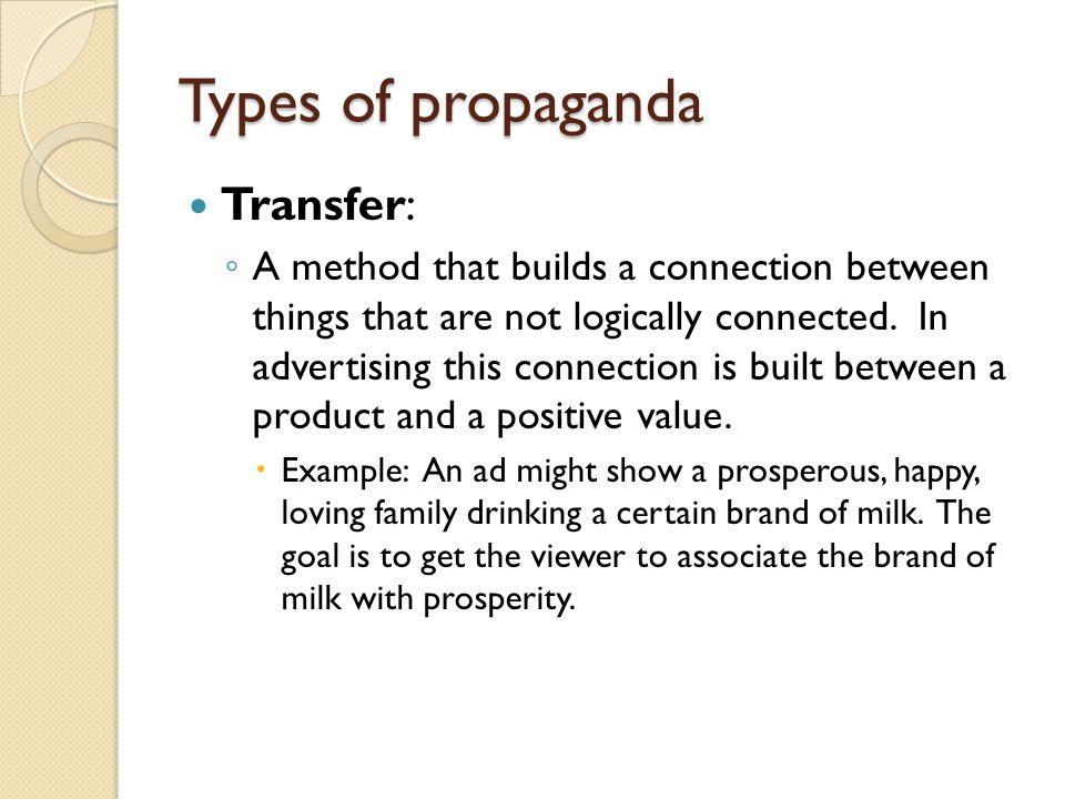 Types of propaganda Transfer: