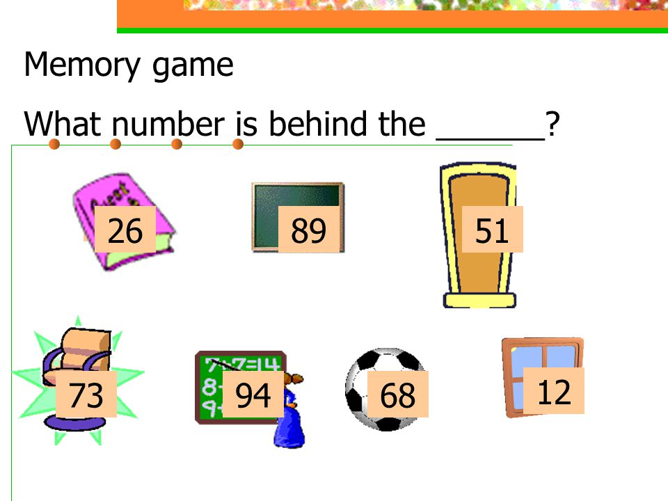 Memory game What number is behind the ______ 26 89 51 26 89 51 73 94 68 12 73 94 68 12