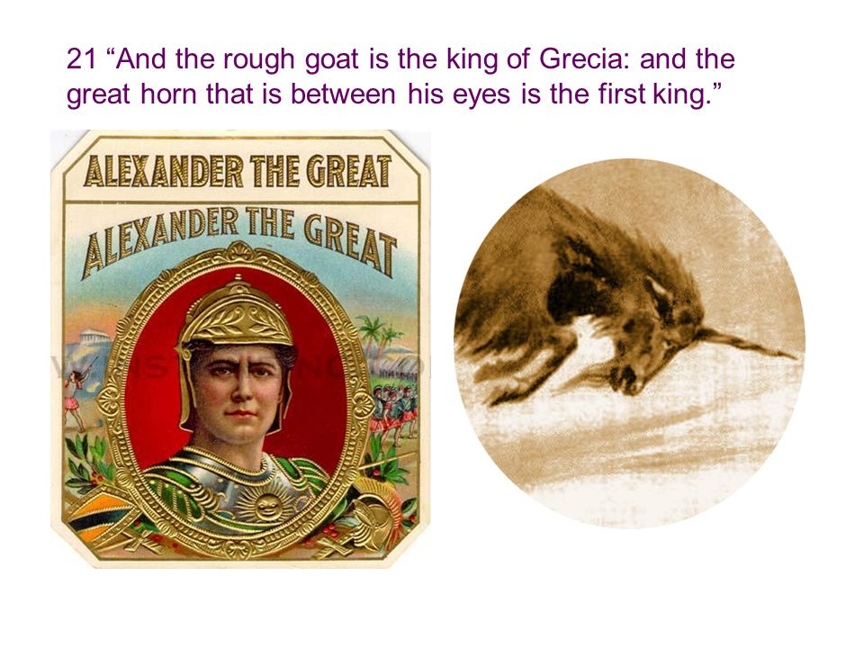 21 And the rough goat is the king of Grecia: and the great horn that is between his eyes is the first king.