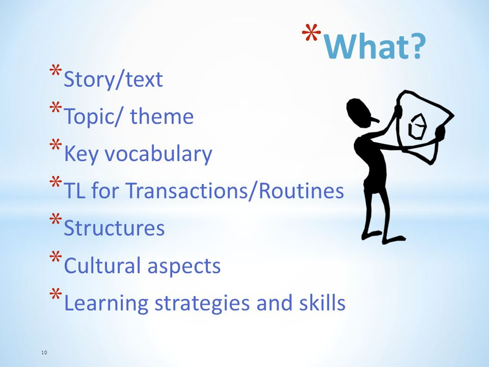 What Story/text Topic/ theme Key vocabulary