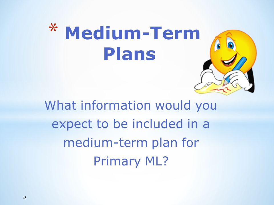 Medium-Term Plans What information would you expect to be included in a medium-term plan for Primary ML