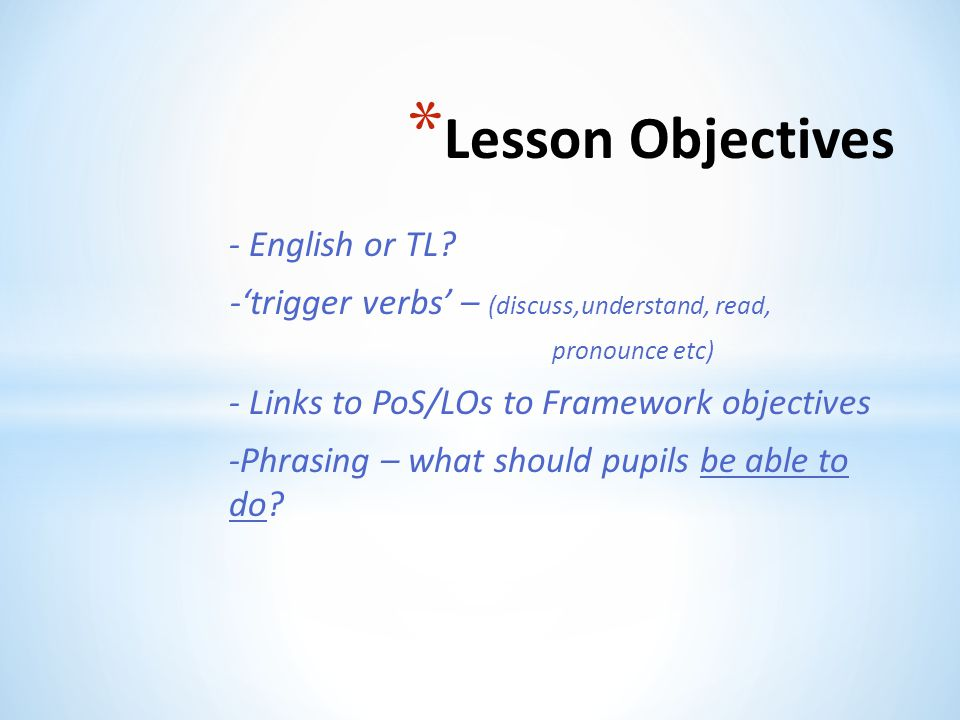 Lesson Objectives - English or TL