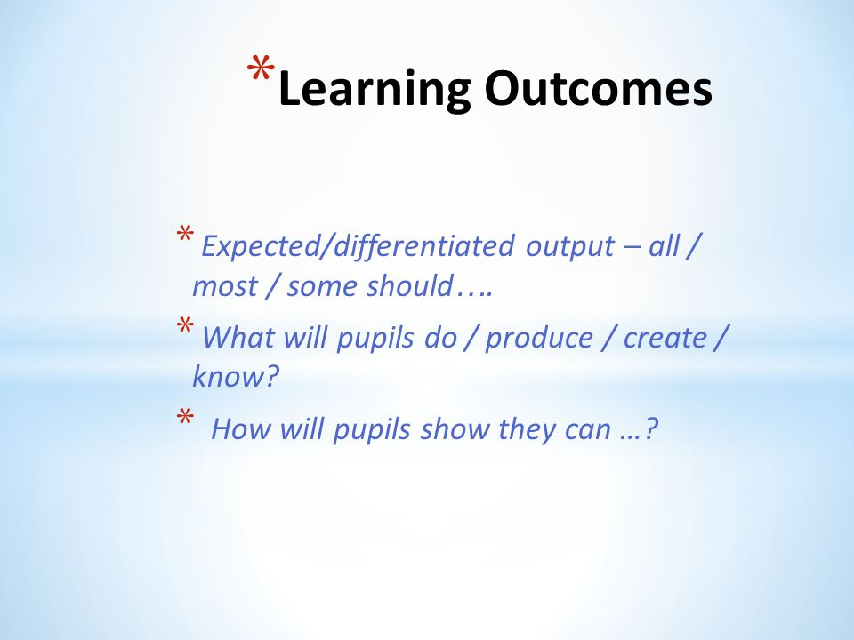 Learning Outcomes Expected/differentiated output – all / most / some should…. What will pupils do / produce / create / know