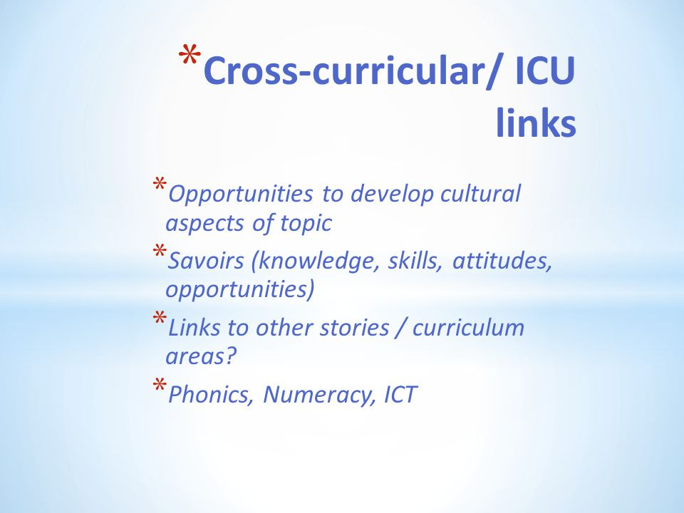 Cross-curricular/ ICU links