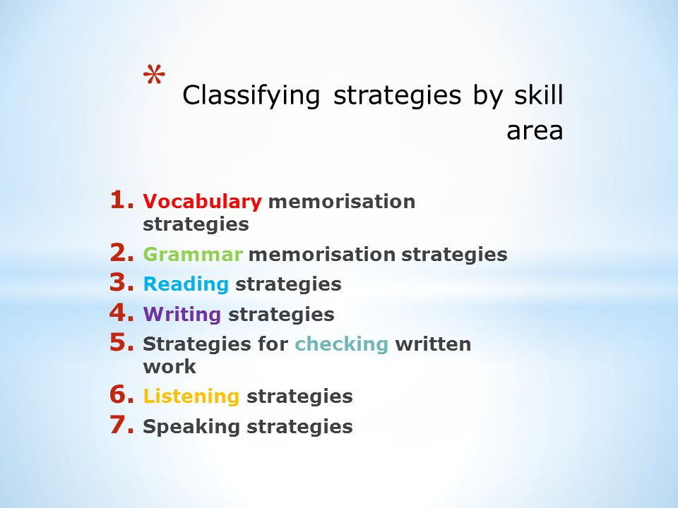 Classifying strategies by skill area