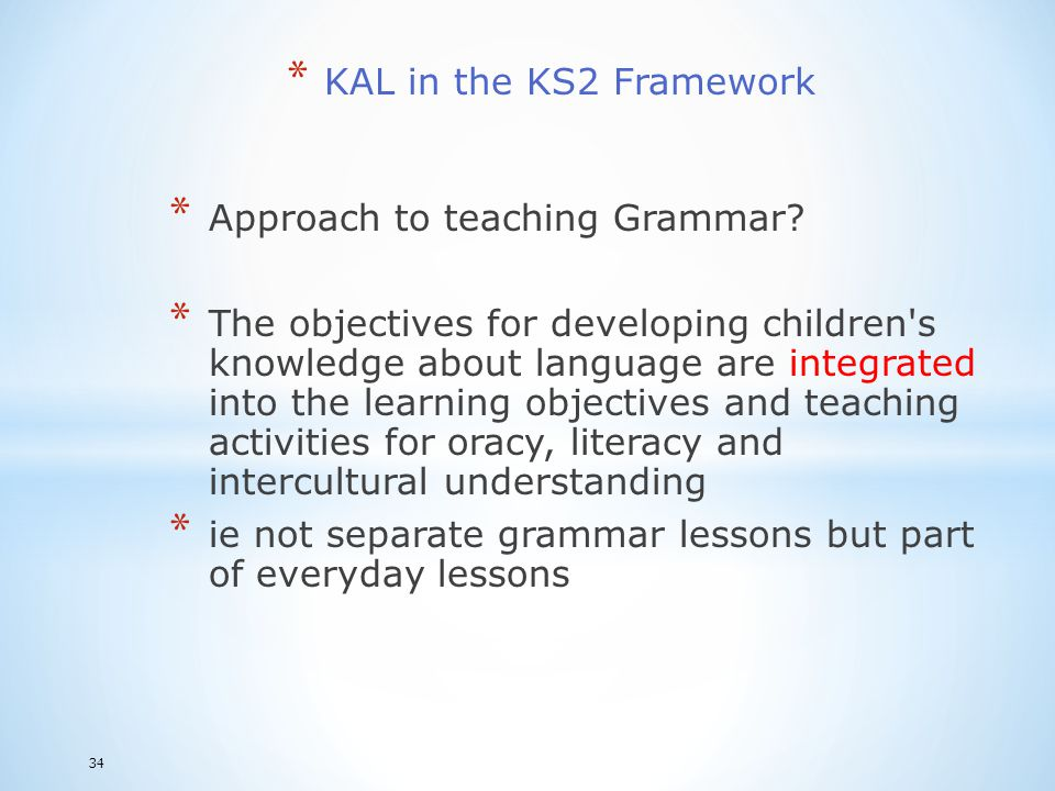 Approach to teaching Grammar