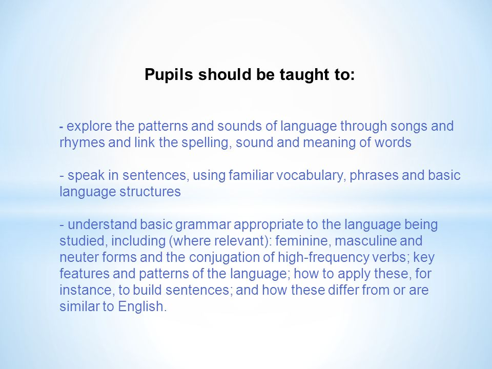 Pupils should be taught to: