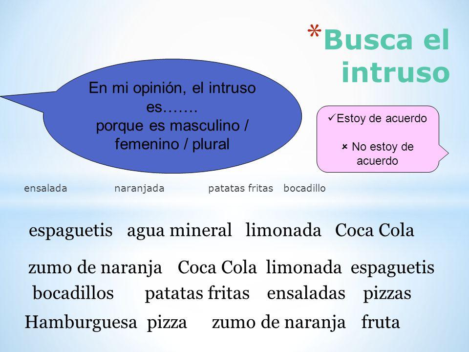Busca el intruso espaguetis agua mineral limonada Coca Cola