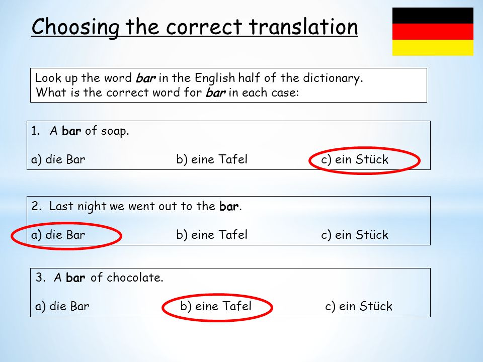 Choosing the correct translation
