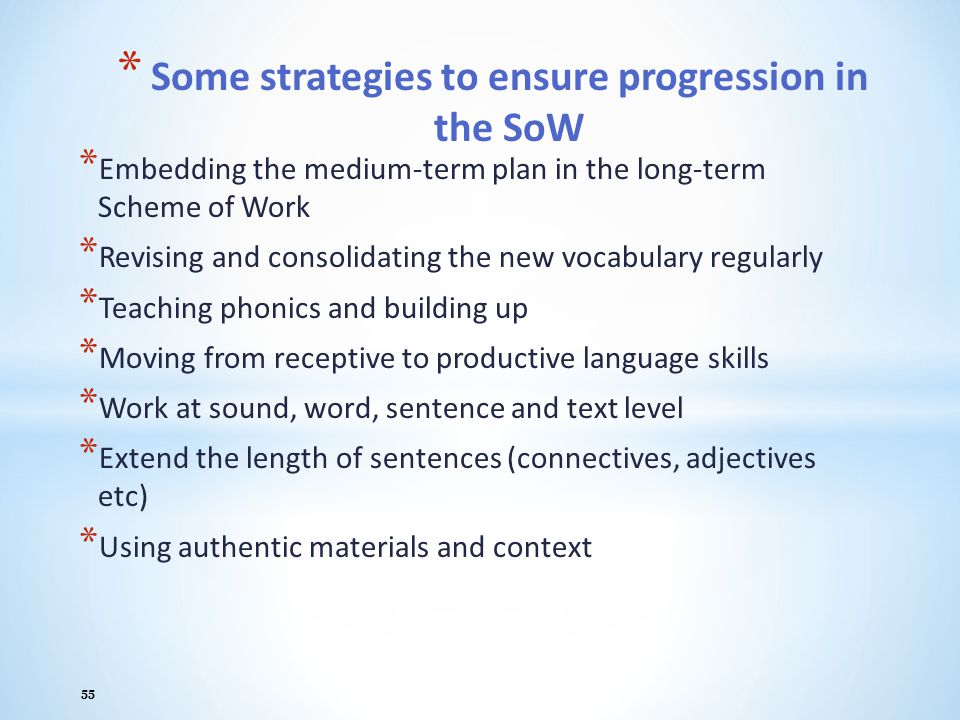 Some strategies to ensure progression in the SoW