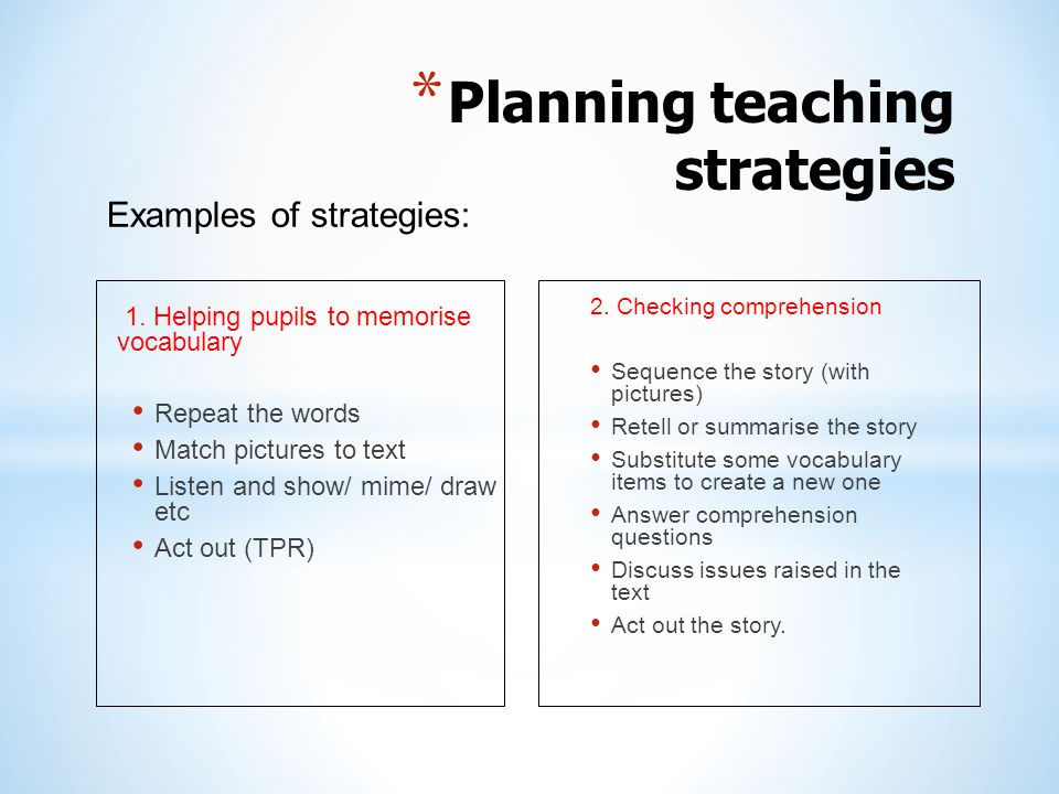 Planning teaching strategies