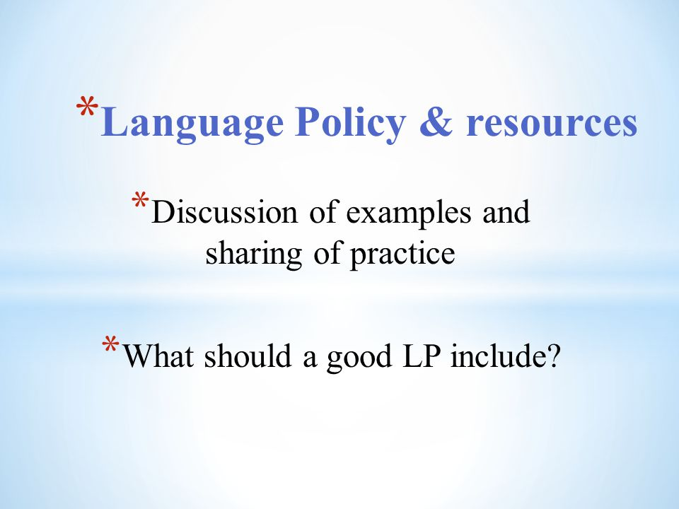 Language Policy & resources