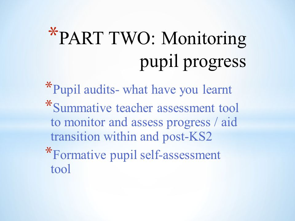 PART TWO: Monitoring pupil progress