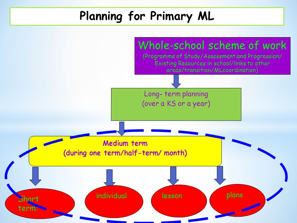 Planning for Primary ML (during one term/half-term/ month)