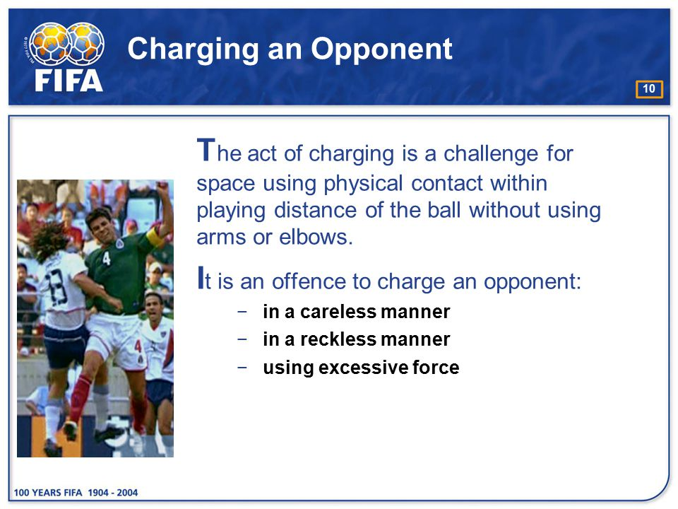 It is an offence to charge an opponent: