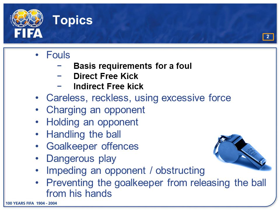 Topics Fouls Careless, reckless, using excessive force