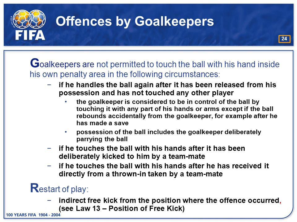 Offences by Goalkeepers