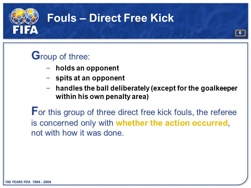 Fouls – Direct Free Kick