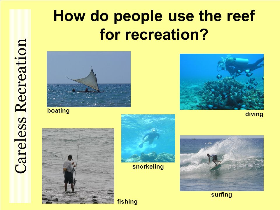 How do people use the reef for recreation