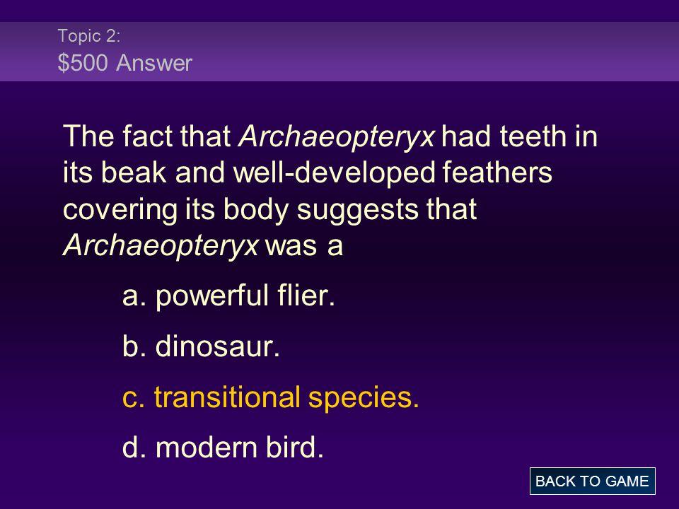 c. transitional species. d. modern bird.