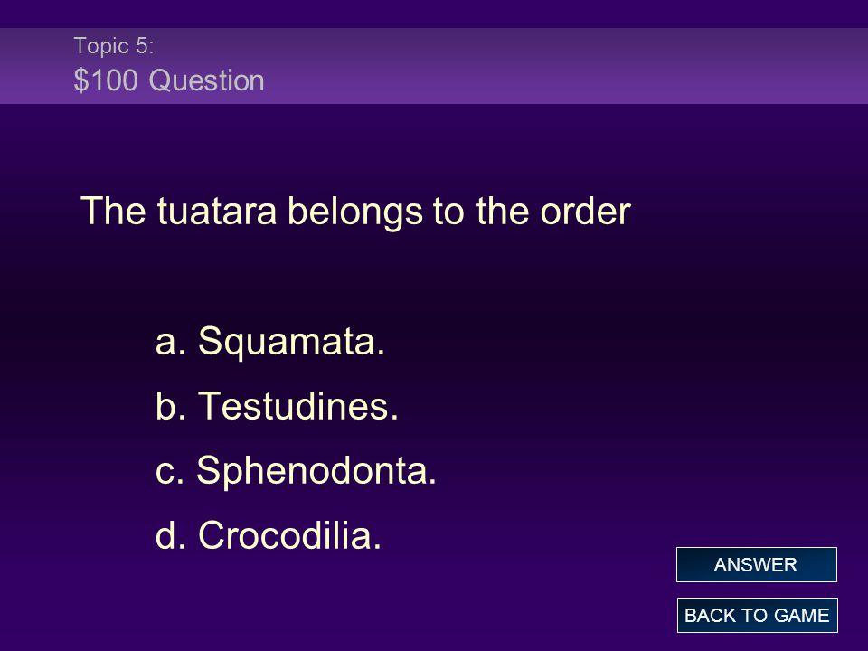 The tuatara belongs to the order