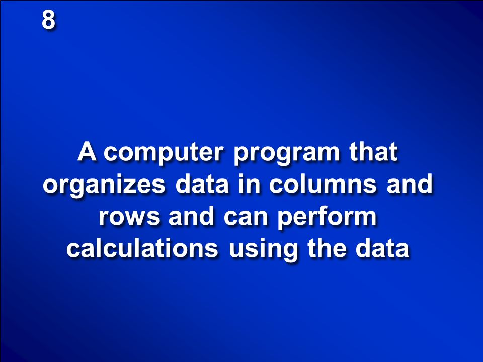 8 A computer program that organizes data in columns and rows and can perform calculations using the data.