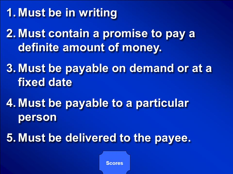 Must contain a promise to pay a definite amount of money.