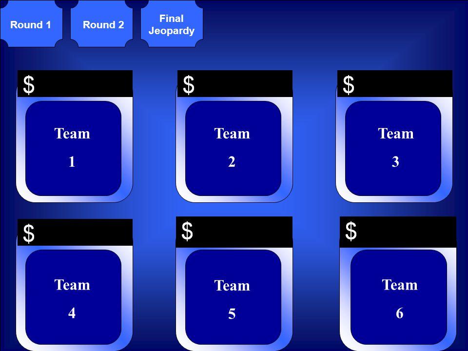 Team 1 Team 2 Team 3 Team 4 Team 5 Team 6