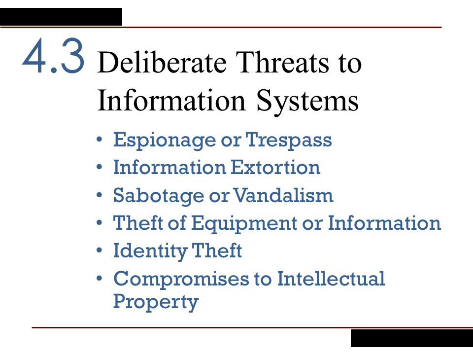 Deliberate Threats to Information Systems