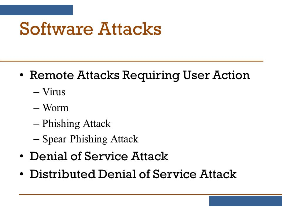 Software Attacks Remote Attacks Requiring User Action