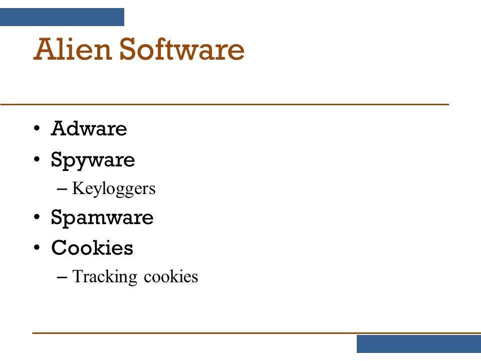 Alien Software Adware Spyware Spamware Cookies Keyloggers