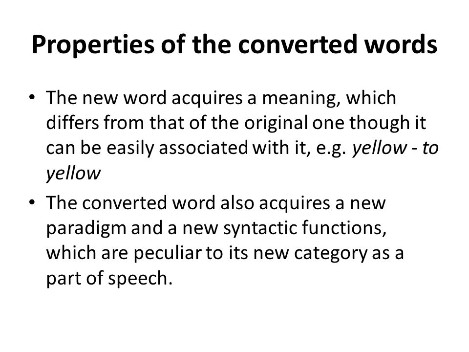 Properties of the converted words