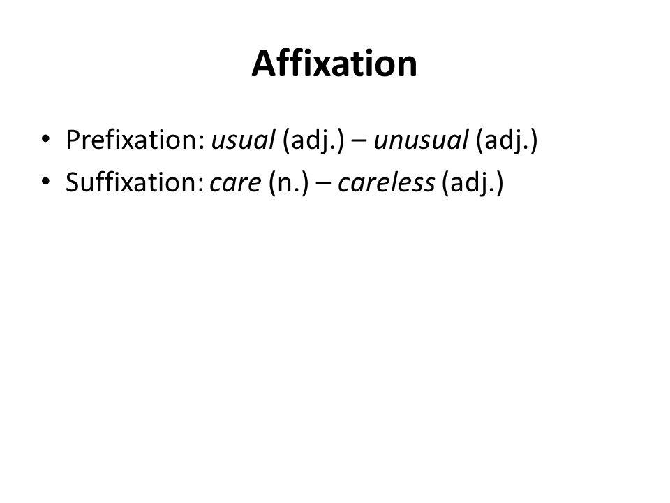 Affixation Prefixation: usual (adj.) – unusual (adj.)