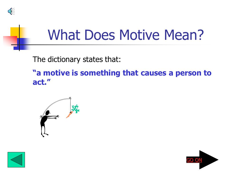 What Does Motive Mean The dictionary states that: