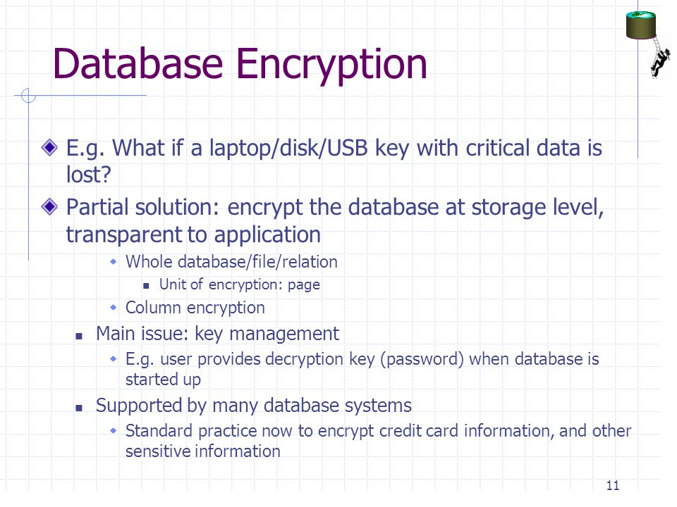 Database Encryption E.g. What if a laptop/disk/USB key with critical data is lost