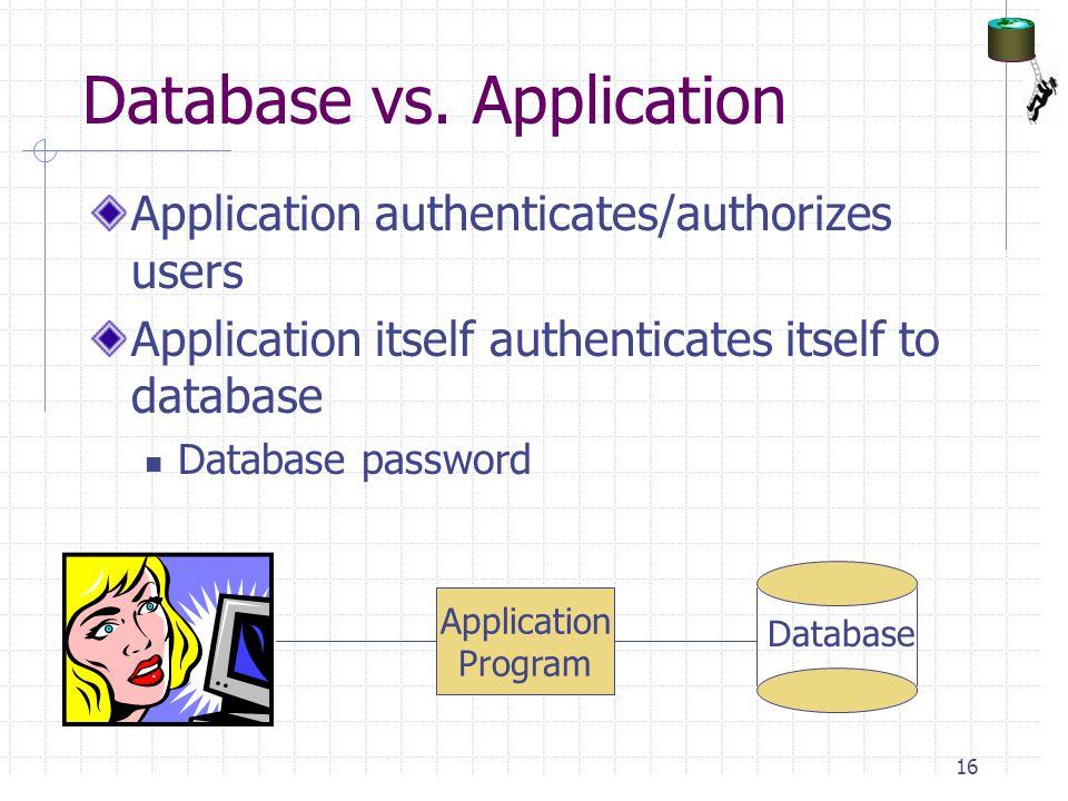 Database vs. Application